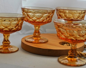 Amber Glass Dessert Cups, Set of Four, Vintage Thumbprint glasses