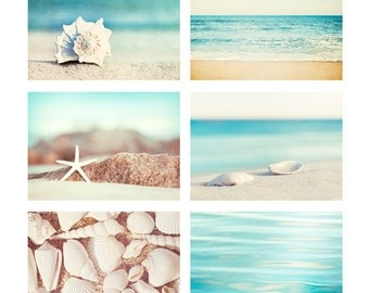 Beach Photo Set - Six 11x14, 8x10, 5x7 Photographs - coastal photography aqua blue print set ocean seashells white cream beige wall art