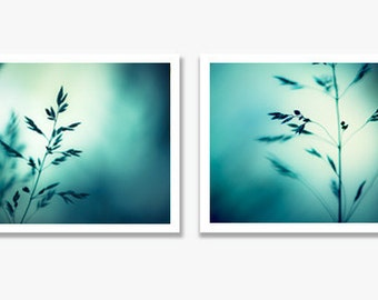 Teal, Aqua Photography Set - Two 11x14, 8x10, 5x7 Prints - dark blue turquoise blue white 2 modern nature photographs - abstract photo set