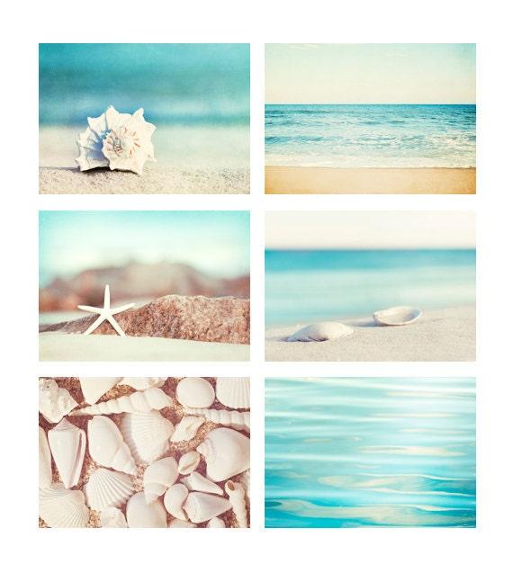 Beach Photo Set - Six 11x14, 8x10, 5x7 Photographs - coastal photography aqua blue print set ocean seashells white cream beige wall art
