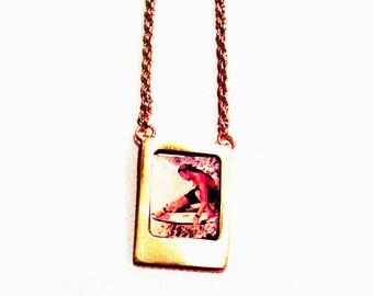 Mini Polaroid Film Necklace Gold
