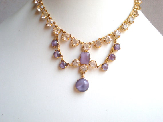 Vintage Rhinestone Necklace, Purple, Clear