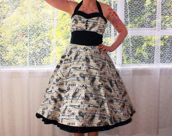 """Rockabilly Music Note  """"Fiona""""  Dress with Halterneck, Button Detail, Black Trim and Full Skirt"""