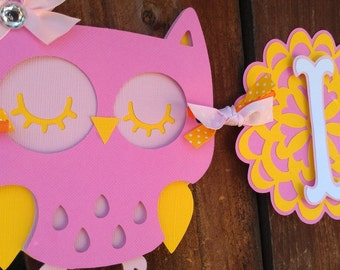 """Owl Baby Shower Banner, pink and yellow """"It's A Girl"""""""