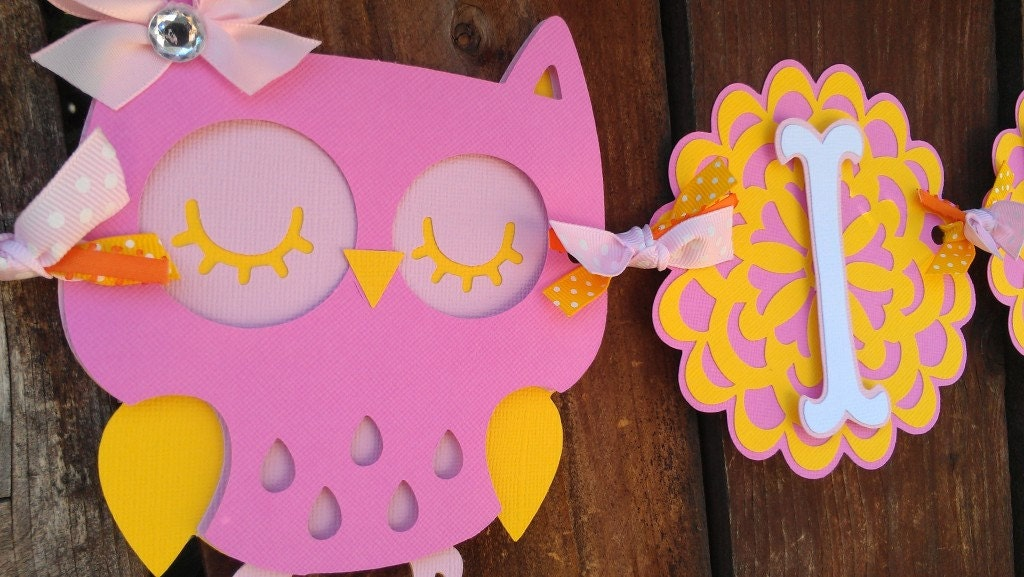 owl baby shower banner pink and yellow it 39 s a