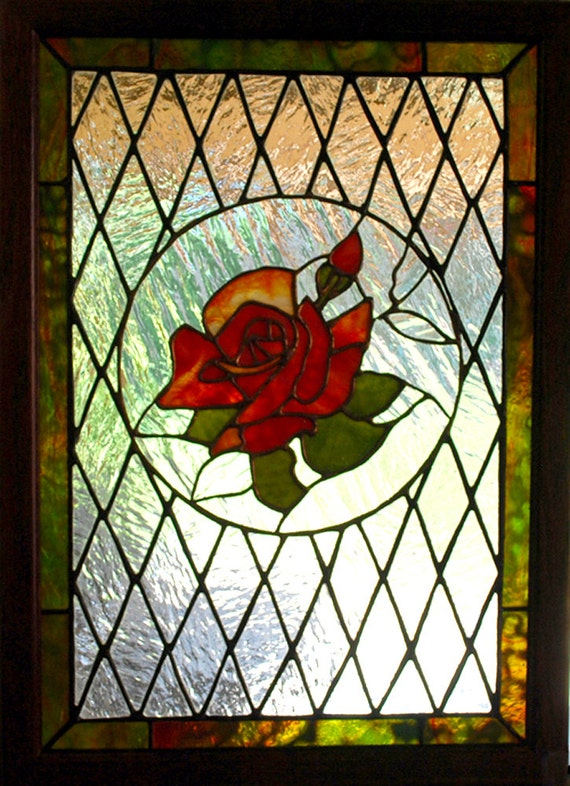 Stained Glass Panel Victorian Red Rose