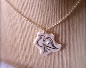 """Polymer Clay Jewelry - Polymer Clay Hand Stamped """"Peaceful Dove"""" Pendant/Necklace"""