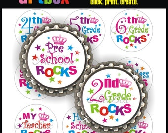 School Rocks (White) Bottle Cap Images - 4X6 Digital Collage Sheet - BottleCap 1 Inch Circles for Pendants, Hair Bows, Magnets, Badge Reels