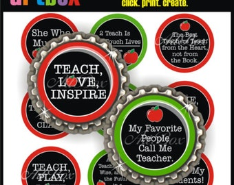 Teacher's Blackboard Sayings Bottle Cap Images - 4x6 Digital Collage Sheet - BottleCap 1 Inch Circles for Pendants, Badge Reels, Magnets