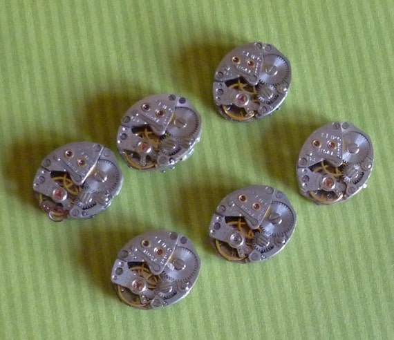 Steampunk Supplies 6 Identical Oval Vintage Seiko Watch Movements