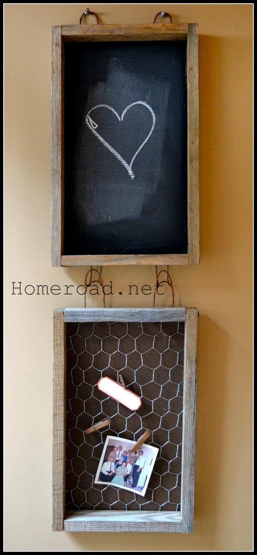 Hanging Driftwood Chalkboard-Photo Holder Set