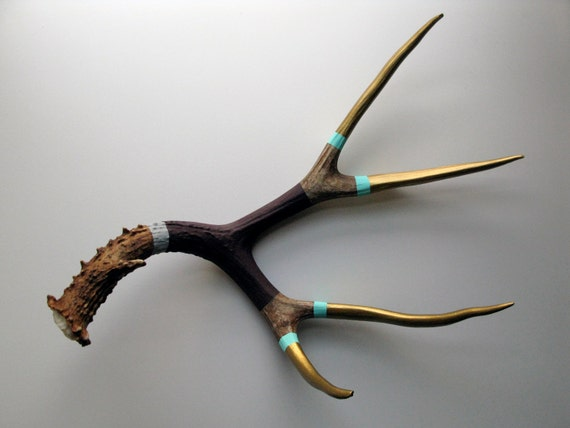 Gold, Aqua, Purple & Gray Striped Painted Mule Deer Antler - Extra Large