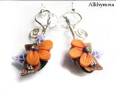 Secret Garden in Purple and Orange, polymer clay and wire work earrings, 100% handmade