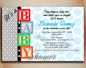 Baby Blocks Baby Shower Invitation, Baby Blocks Birthday Invitation, Boy or Girl Baby Blocks Invite, Baby Blocks Shower Invite-DIY
