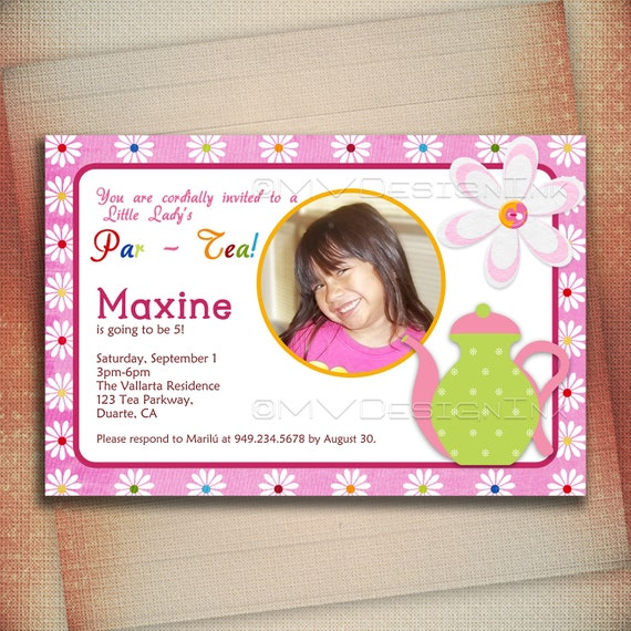 Tea Party Birthday Invitation, It's a Tea Party Birthday Invite-Digital File You Print