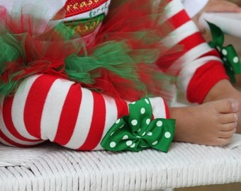 Christmas Bow Leg Warmers - Peppermint Striped - red and white striped with green polka dot bows
