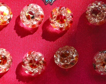 8 Victorian Tinted Glass Buttons