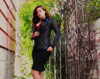 Very Slim Fitting Black Leather Jacket