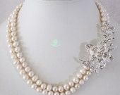Pearl Necklace - 18-19 inch 7-8mm White Freshwater Pearl Necklace with Flower B - Free Shipping