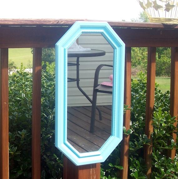 vintage mirror shabby chic aqua mirror  syroco beachy upcycled country mirror