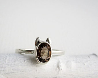 Brown Dog Ring, Smoky Quatrz and Sterling Silver, Dog Design1