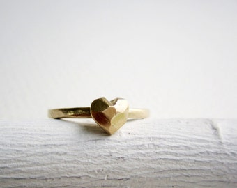 14K Yellow Gold Faceted Heart Ring