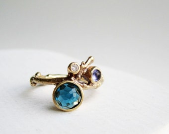 Diamond 14K Yellow Gold Twig Ring with London Blue Topaz and Iolite