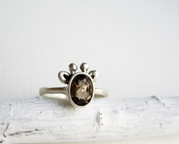 Brown Giraffe Ring, Smoky Quartz and Sterling Silver Ring,Graffe Fine Jewelry