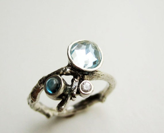 Double Blue Topaz and White Sapphire Silver Twig Ring