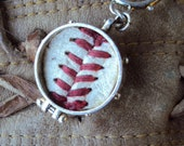Giants or Any team game ball keychain sterling silver plated memory keeper personalized baseball  soccer mom gift