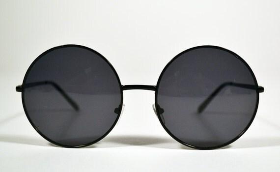 Vintage 90s Black Wire Oversized Round Circle Sunglasses