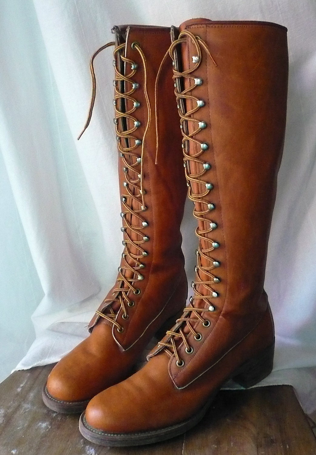 On Sale Vintage Frye Tall Lace Up Boots Black Label Size 10
