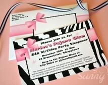 """Pajama Glam Zebra print 4x6"""" or 5x7"""" printable invitations and envelopes"""
