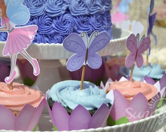 Fairy Garden party Flower petal (immediate download)  printable cupcake wrappers