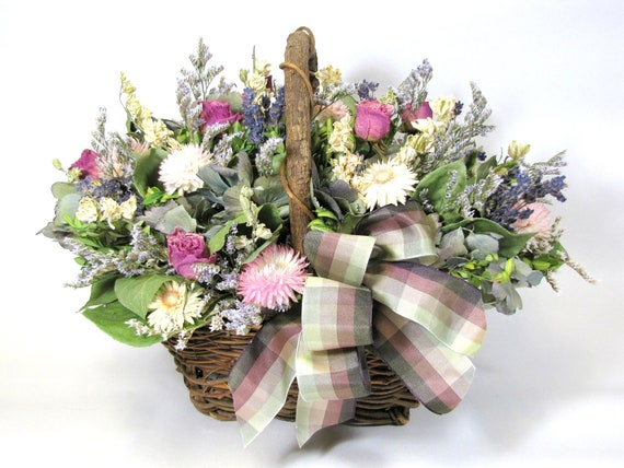 "Dried Flower Arrangement ""Lavender and Roses"", Floral Decor, Basket Arrangement"