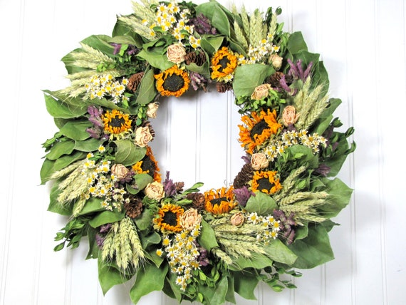 "Dried Floral Wreath ""Fall Havest"",  Autumn Wreaths, Floral Decor"