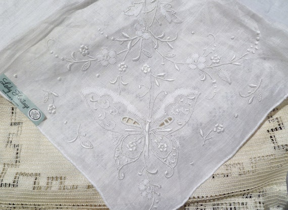 Vintage White Embroidered Butterfly Hanky