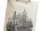 Desert Cactus Vintage Eco Friendly Canvas Tote Bag (ilp010)