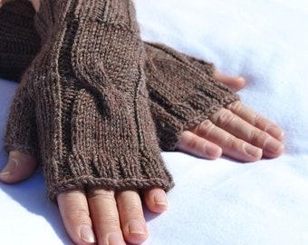 Fingerless gloves,hand-knitted brown fingerless women's gloves, arm warmers
