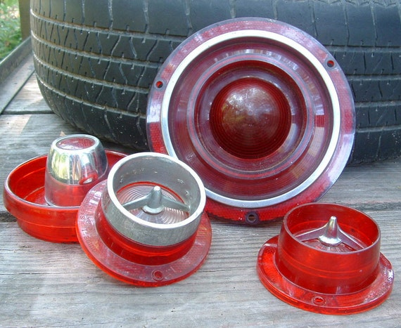 Lot of 4 Vintage Early Ford Car Tail Light Lens Covers Salvage Car Parts