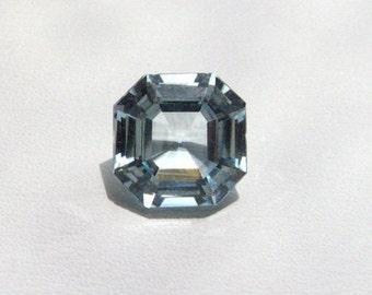 Engagement Ring Blue Aquamarine Gemstone, Asscher cut 2.75 carats Square Octagon, diamond alternative