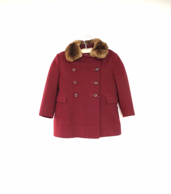 Reserved - 1950's Marshall Fields Double Breasted Red Burgundy Wool Coat with Fur Trim