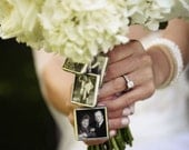DIY wedding keepsake Bouquet charms - 1 inch Photo Pendants For family photos square charms to hang from bridal bouquet Great gift for bride