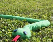 4 Foot Long Plush Snake CUSTOM order for FELADALES with Chocolate Brown and Blue eyes Soft and Bendable