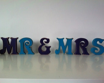 Handpainted Wooden Letters Letters - Mr & Mrs - Victorian Font - 20cm - various colours and finishes