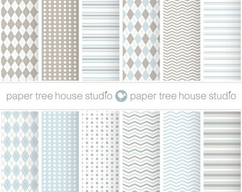 Digital Papers - Light Blue and Tan - Stripes, Argyle, Dot, Cheveron - 12 Digital Files - PNG Format - 8.5x11 and 12x12  inch - ID1061