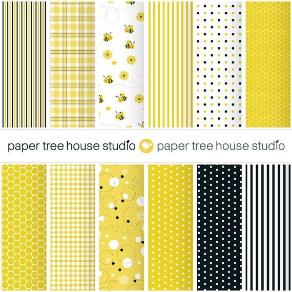 Digital Papers - Bumble Bee Print -Twelve 8.5x11 and 12x12 Print Ready Files - PNG Format - ID1065