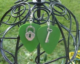 Green Dunlop Lock N Key Guitar Pick Earrings