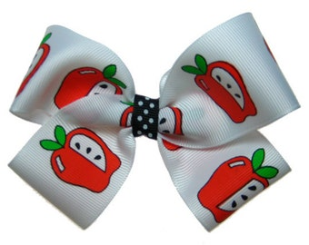 Large Back to School Apple Teacher Hair Bow