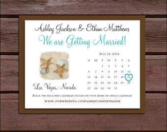 100 Beach Wedding Save the Date Cards. Invitations come with FREE Calendar Stickers